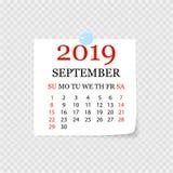 Månatlig kalender 2019 med sidakrullningen Reva-avkalender för September Vit bakgrund också vektor för coreldrawillustration vektor illustrationer