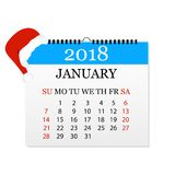 Månatlig kalender 2018 Reva-avkalender för Januari Vit bakgrund också vektor för coreldrawillustration Arkivfoton
