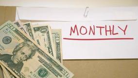 Månatligt avdragpengarbegrepp lager videofilmer