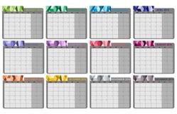 Månatligt plan 2016 vektor illustrationer