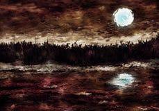 månbelyst målning för impressionistlake Vektor Illustrationer