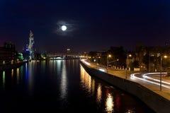 månbelyst moscow natt över Royaltyfria Bilder