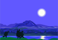 Månbelyst natt - fiskarna går att fiska royaltyfri illustrationer