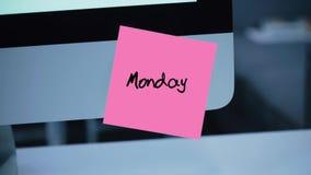 måndag Dagar av veckan Inskriften på klistermärken på bildskärmen stock illustrationer