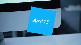 måndag Dagar av veckan Inskriften på klistermärken på bildskärmen vektor illustrationer