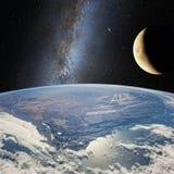 Måne över jorden, på bakgrunden av den mjölkaktiga vägen Beståndsdelar av denna avbildar möblerat vid NASA http://www nasa gov/ stock illustrationer