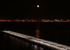 Måne över Mallorca Arkivbild