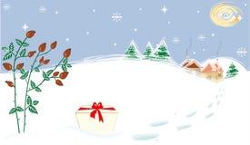 Måne Briar Present för vinterlandskapstjärnor vektor illustrationer