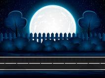 Måne för natt för asfaltväg ljus upplyst stor Royaltyfria Bilder