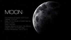 Måne - hög upplösning Infographic framlägger en av Royaltyfri Bild