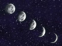 Måne i galaxen royaltyfria bilder