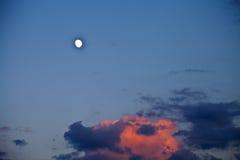 Måne i himlen Royaltyfria Foton