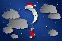 Måne i lock av den Santa Claus And A sockan i den stjärnklara himlen för natt pappers- konststil royaltyfri illustrationer