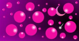 M?ne i rosa moln, en ljus stj?rna, skinande m?ne med purpurf?rgad bakgrund royaltyfri illustrationer