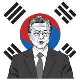 Måne Jae-i presidenten av Sydkorea med flaggabakgrund också vektor för coreldrawillustration September 17, 2017 Arkivbild