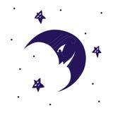 Måne leendeframsida, stjärnor Royaltyfri Bild