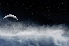 Måne och Fogbank arkivbilder