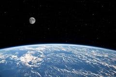 Måne och jord. arkivfoton