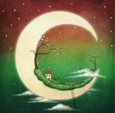 Måne och körsbärsrött träd Arkivbilder