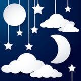 Måne- och molnpapper Royaltyfri Fotografi