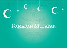 Måne och stjärnor för muslimsk Ramadanbakgrund hängande. Arkivfoto