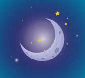 Måne och stjärnor i himlen Royaltyfri Fotografi