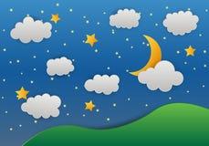Måne och stjärnor i midnatt berg pappers- konststil vektor illustrationer