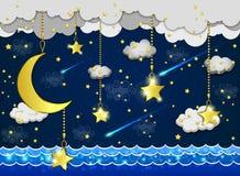 Måne och stjärnor i molnen Arkivfoto