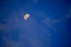 Måne på de blåa himlarna Arkivfoto