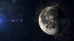 Måne på nebulosabakgrund Tolkning för solsystemplanet 3d Arkivfoton