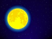 Måne på stjärnklar himmel Arkivbild