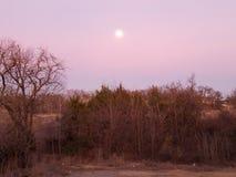 Måne som är suddig vid moln över träna fotografering för bildbyråer