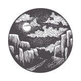 Måne som exponerar vägen till klyftan vektor illustrationer