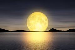 Måne som stiger över seyen stock illustrationer