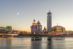 Måneafton på den internationella musikcentret för Moskva i Moskva Royaltyfria Bilder