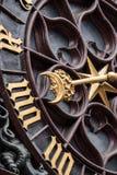 Månedetalj av den BaselRathaus klockan Fotografering för Bildbyråer