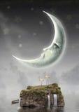 Månen är i himmel stock illustrationer