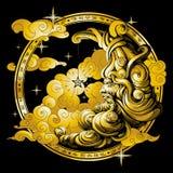 månen dras i form av en gamal man, guld Royaltyfri Bild