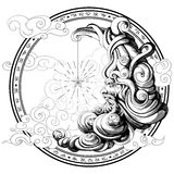 månen dras i form av en gamal man, guld Arkivbild
