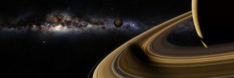 Månen Enceladus för Saturn ` s gjuter en lång skugga på banret för illustrationen för cirklar 3d för planetSaturn ` s, beståndsde royaltyfri illustrationer