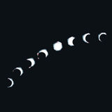 Månen går och månefaser Arkivbilder
