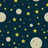 Månen i den stjärnklara himlen royaltyfri illustrationer