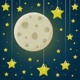 Månen i den stjärnklara himlen stock illustrationer