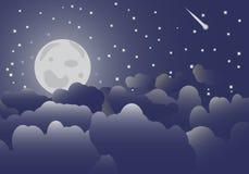 Månen i natthimlen och molnvektorn Royaltyfri Fotografi