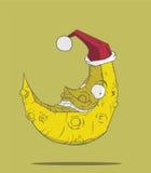 Månen och julen Vektor Illustrationer