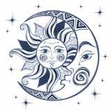 Månen och solen Forntida astrologiskt symbol gravyr Boho stil ethnic Symbolet av zodiaken mystiskt vektor royaltyfri illustrationer