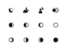Månen synkroniserar symboler på vit bakgrund Fotografering för Bildbyråer