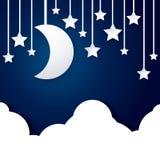 Månestjärna och molnpapper Royaltyfria Foton