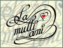 Mång- Ani för rumänsk för kalligrafikort för lycklig födelsedag La stock illustrationer