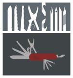 Mång- avsiktknivillustration Vektor Illustrationer